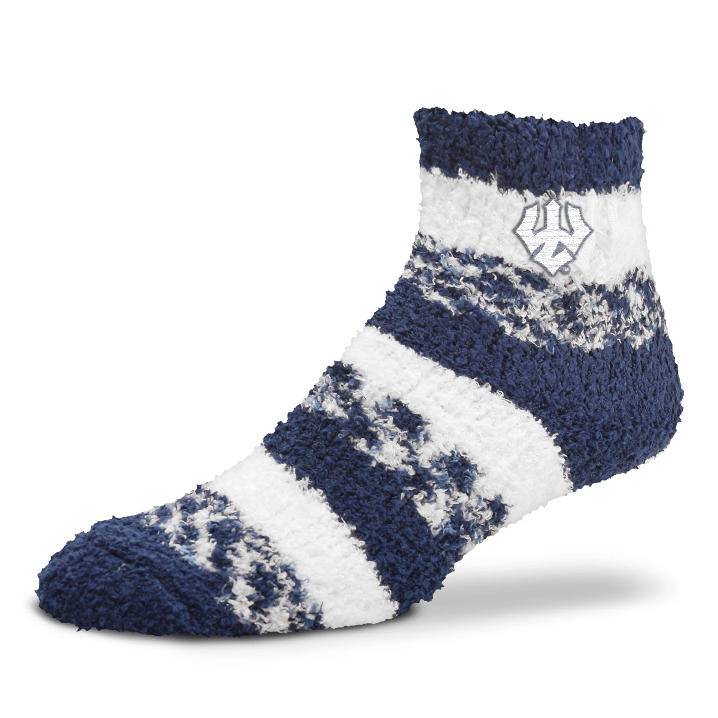 Image For For Bare Feet Fuzzy Striped Socks, Royal or Navy